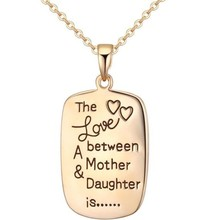 The faith of love, champange gold double side inscripted plate necklace, pendant necklace with inscriptions