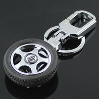 Custom auto tyre wheel shaped metal keychains