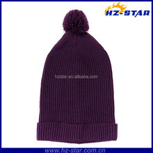 HZM-13401 100% Acrylic Winter wholesale plum knit dark purple color hat with ball