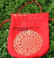 chinese style drawstring red stain pouch