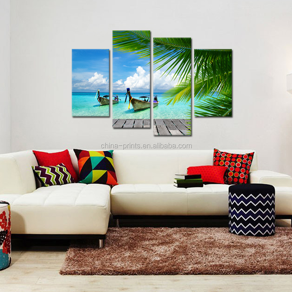 Seascape photo giclee print on canvas boat on sea canvas for Cheap art prints on canvas