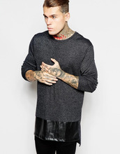 Longline Long Sleeve T-Shirt With Metallic Rib Jersey And Leather Look Panel
