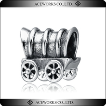 925 Sterling Silver Four Wheel Carriage Car Charm Bead Jewelry Finding