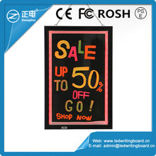 CE/FCC alluminum alloy led sign tempered glass battery operated led writing board