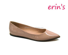 2014 point toe pretty women ballet flat with rubber outsole fashion lady design
