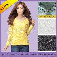 Fashionable nylon Iris lace fabrics for apparel or wedding dresses