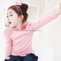 Japan and south guangdong origin girls t-shirts wholesale Two color turtle neck small children's clothing