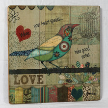 Antique Imitation Colorful Love Bird Wood Wall Art