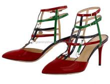 neuesten design schließen zehe high heel damen sandalen lackleder bunten sexy sandalen für frauen