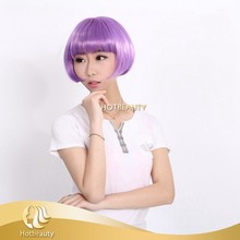 fashionable 10 inch low temperature purple color synthetic wig