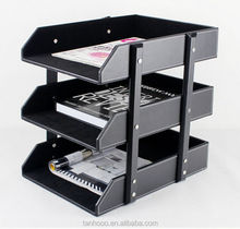PU leather desk organizer for office use, Practical 3 tier document tray