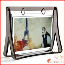 clear acrylic frameless photo frame-acrylic vase with photo frame