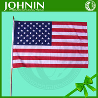15*23cm polyester material United States hand waving national flag with pole