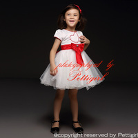 Children 2015 Girl Princess Dress Red Love And Big Bow Party Dresses White Wedding Kids dress Chirld Wear GD40418-2
