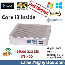 Cheap mini nettop pc with intel Processor core i3 4010U,ultra low power mini pc 12V Alloy case no fan 300M wifi