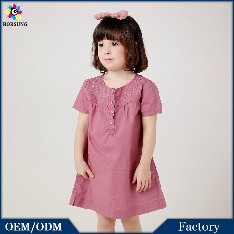2015 High quality Summer Children Short Sleeve Girls Dress Woven Baby Kids Cotton Frocks Designs
