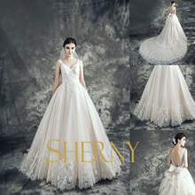 Sherny Bridals Cheap Fashion New Style Detachable A-line Sexy See Through Back sweetheart neck long tail Wedding Dress