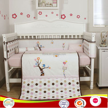 2015 new tree bird applique baby bed bedding set in pink color for baby girls