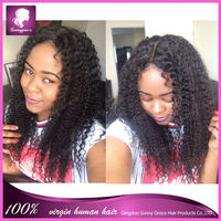 full lace wigs Beautiful Style brazilian Remy Hair Afro Curly 100% Human Hair Full Lace Wig With Baby Hair