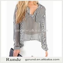 Nueva señora con estilo mujeres moda de manga larga blusa transparente atractivo de la raya de la blusa