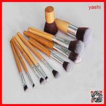 YASHI 10pcs Bamboo Make Up Makeup Brush Set With Draw String Bag