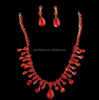 drop pendant red diamond bridal wedding banquet jewellery set