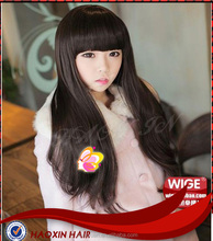 fashion Remy virgin sliky straight thick bang wig with polyurethane around the edges