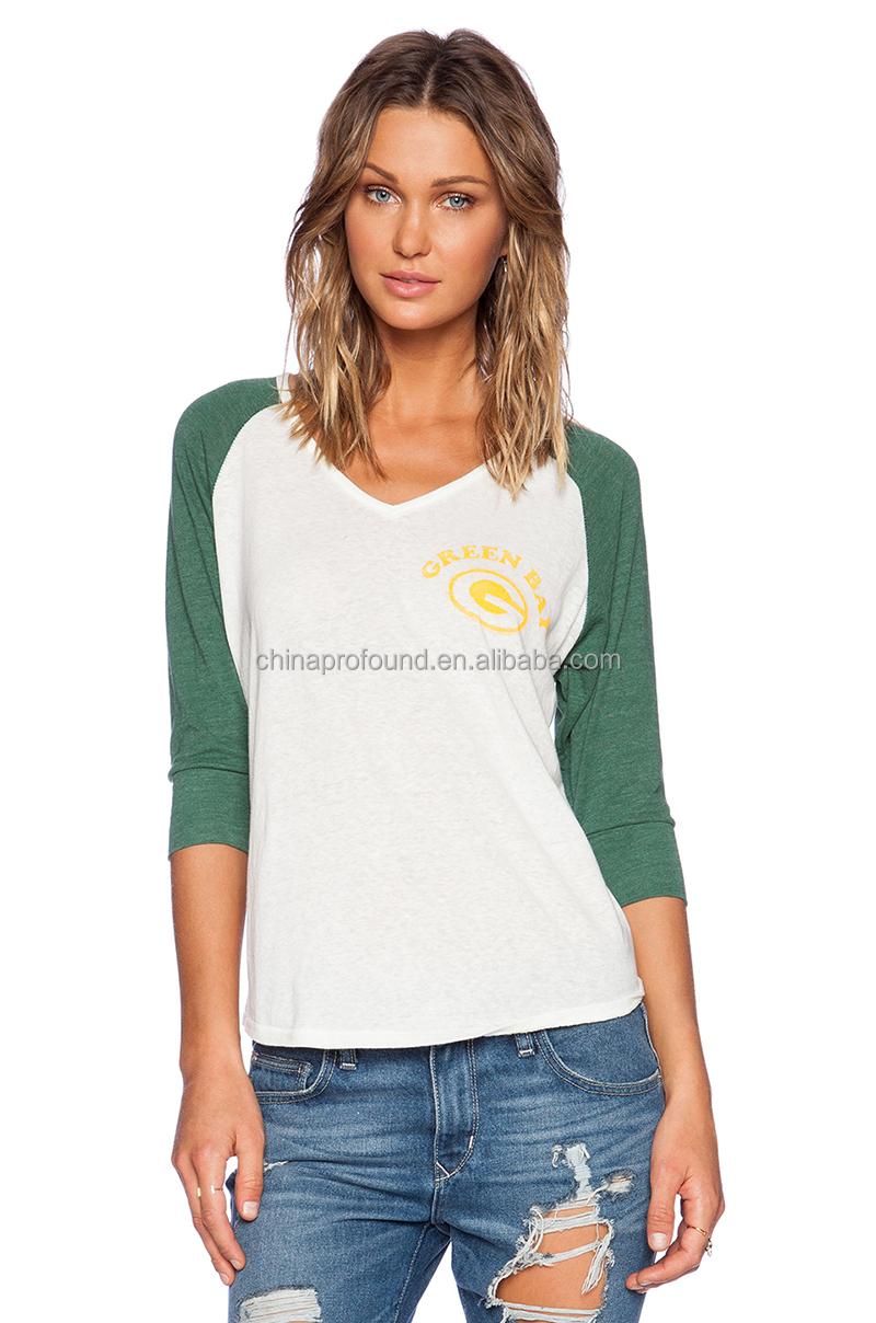 3 4 Raglan Tee Women V Neck T Shirts Blank Wholesale Women