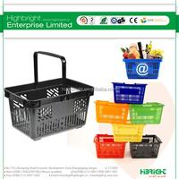 Retail store shop hand basket, plastic supermarket shopping basket,small food basket with handles