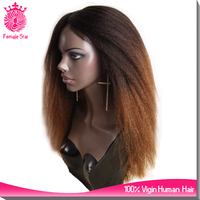 top 200% density ombre kinky straight full lace wigs yaki human hair ombre wig
