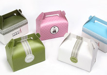 OEM factory printing paper birthday cake packaging box with handle