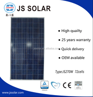 72 poly-crystalline silicon cells 270wp solar module China manufacturer