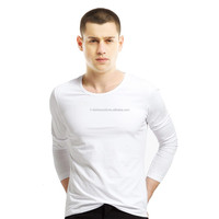 Kingson clothing mens garment stock lot sales in long sleeve crew neck combed cotton T-shirt no minimum