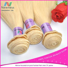 Newness hair human hair blond blond hair drawstring ponytail blond human hair weft