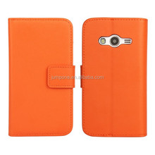 Plain weave wallet Genuine leather case cover With card holder For Samsung Galaxy Ace 4 G313 G313H