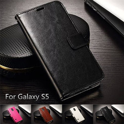 Luxury PU Leather Cases For Galaxy s5, Wallet Case For Samsung Galaxy S5 Case With Card Holder