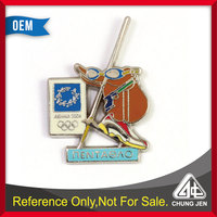 Promotional custom metal cut out pin badge for olympic sport