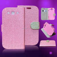 2014 New Lady's favourate shiny powder cover with rhinestone flap fancy shining cover for galaxy s3