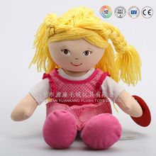 20145 Hote Sale ICTI Audited Factory Plush Yellow Hair Girl Doll