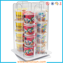 Custom Rotating 4 Partitions Acrylic Coffee Cup Dispenser