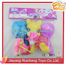 New products 2015 vinyl toy horse with baby girl doll
