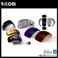 Mini USB 2.4Ghz Snap-in Transceiver Optical Foldable Folding Arc Wireless Mouse for PC Laptop Computer