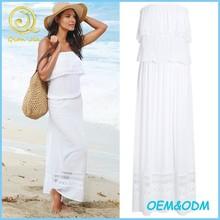 High quality women summer wear white lace trim maxi dress