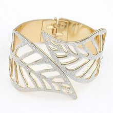 Fashion Statement Hollow Out Leaves Design Silver And Leopard Cuff Bracelets Bangles BA135