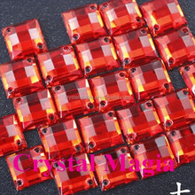 red color square acrylic 8mm ab rhinestones stick-on, flat back acrylic stones