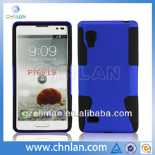 blue pc with silicone cover case for LG P769,PC cover for LG L9,For LG P79 case cover