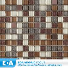 Ao ar livre Brown pó de ouro mista de aço inoxidável reciclado praça Glass Mosaic Tile