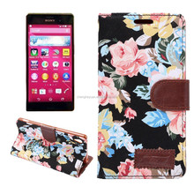Flower Print Cell Phone Flip Leather Wallet Stand Case For Sony Xperia Z4