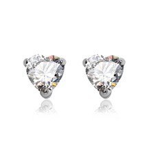 OUXI heart shaped white 925 sterling Silver&crystal earrings stud for engagement Y20059