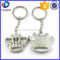 Metal King and Queen Crown Ring Couple Key fob